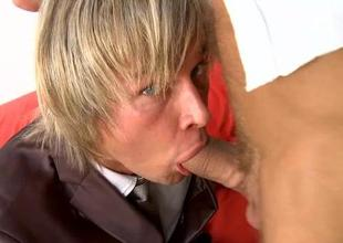 Seductive preferred lad is giving hunk a wicked oraljob