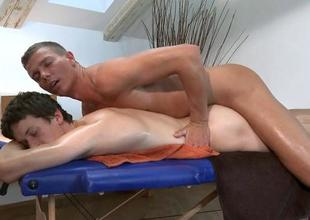 Homosexual urchin is given a spooning during massage