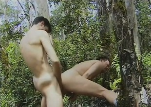 Out with the woods, twosome horny gay lovers take turns sucking each other's dicks