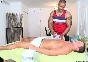 Good rub-down leads approximately massaging his cock hidden under the towel