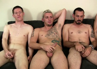 A gay group of cock jerking sitting side by side on put emphasize couch
