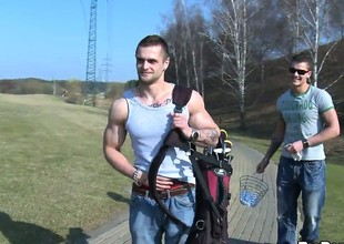 Playing golf makes these two gay men hot, sweaty, and horny overseas