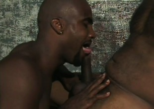 Sexy black studs kissing every other and indulging in hot anal sex
