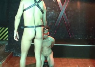 Hatless young slave gets blindfolded at burnish apply dungeon