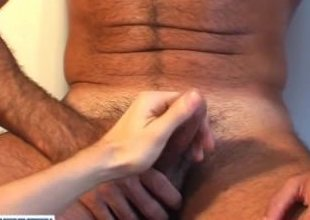 Mature neighbour made a porn: watch his huge weasel words gets wanked by a guy!