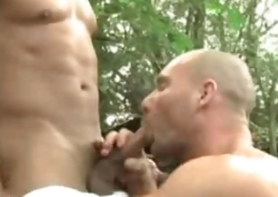Hunky uncaring outdoor foursome