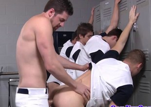Masturbating gay twinks have lockerroom orgy