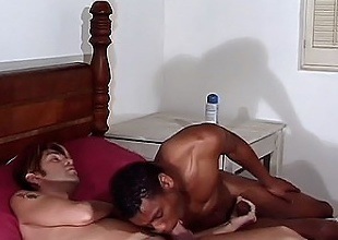 These cock sharing gay roommates enjoy giving it both ways. They both...