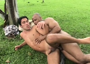 Plantation owner makes his slave whack it out to swell up and dill his ass