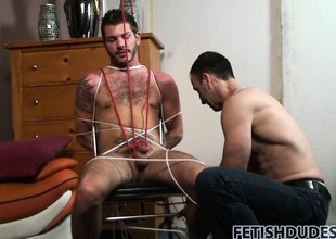 Tristan gets scheduled up in along to chair and his master tortures him