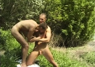 Horny trio be worthwhile for dudes head outside for a sucking and gender session