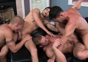 Serious group sex with these cheerful boys putting their cocks more any hole