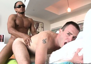 Robbie rides upstairs his boner coupled with then gets butt drilled like a dog