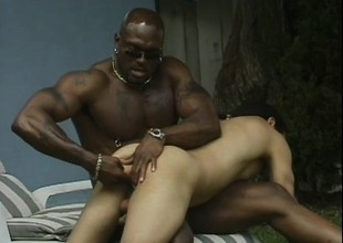 Black timber gets his uninspired trollop sucking his gay cock, in good shape bangs his butt