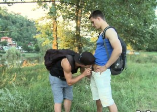 Twinks go into the woods to find a good place to fuck minus