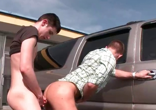 Saleable gay gets fuck down disgorge