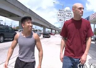 Short Asian dude fucks a tall bald whitey out everywhere public