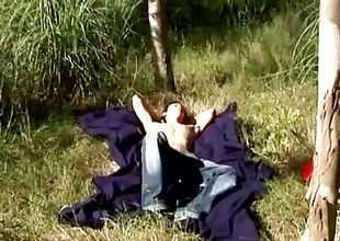 David gets horny and masturbates outdoors