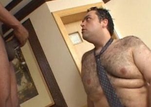 Fat gay gets anal fucked