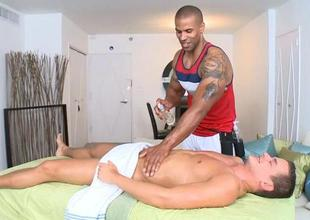 Hunk is pounding studs anal via lusty massage