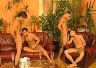 Three insatiable young hunks enjoy pounding each other's tailpipes