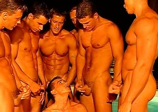 A team of hung gay stallions have the impression naughty dick-sucking orgy