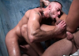 Hot joyful threesome action with muscled stud Jessie Colter and two buddies