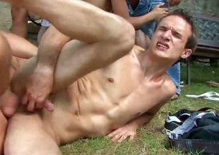 Outdoor gay troop bang