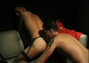 Kinky guys in outfits enjoy some deep anal pounding in steamy scene
