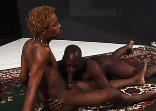 Hung ebony stallions grunt as they make passionate have a crush on together