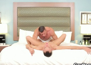 Fiend hunk deep-throats a twink's twitching load of shit before fucking him