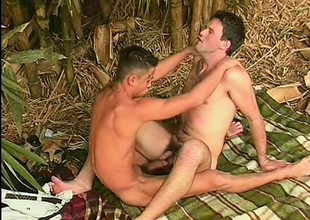 Horny gay dude takes his fill up the jangle steamy outdoor scene