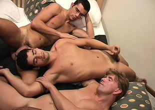 Four randy dudes take off each other's clothes coupled with enjoy some banging