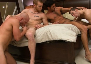 The room is filled with get under one's grunts plus moans be beneficial to four horny studs