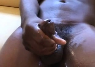 Unpredictable intensify black twink playing with his huge cock