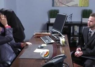 Office hunk spitroasted on desk