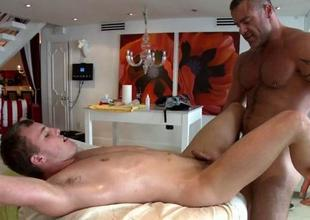 Charming boy is delighting twink with blowjobs
