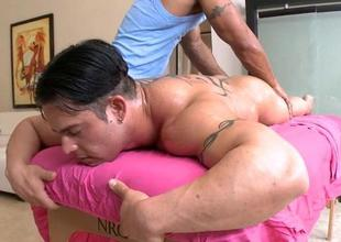 Hot massage session for gracious gay guy