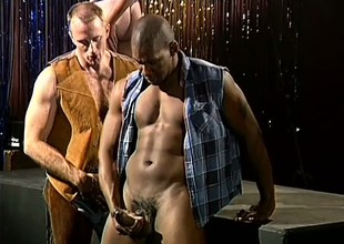 Hairy cowboy concerning great muscles gets off concerning a handsome from