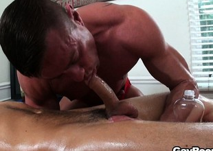 Driven wide of excitement, the masseur slides lose one's train of thought cock close by his throat