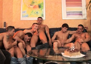 The 18 year old's birthday party loops procure hot gay flannel sucking orgy