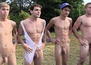 Several college guys will visit to do some gay sexual tasks to get earn the corpse