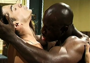 He released himself and his load to his black lover's big meaty rod