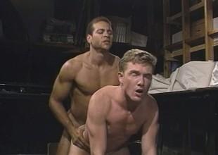 Cute white boy has his black partner pounding his anal aperture deep