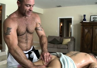 Blonde cutie comes prevalent for a massage and gets his ass toyed overwrought gay masseur