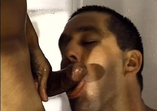 Hairy male lovers enjoy some dirty cocksucking under the shower