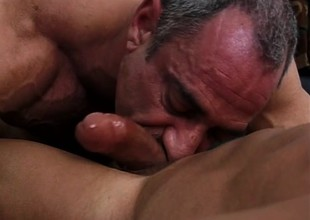 Horny sergeant fills the recruit's close-fisted butt hole with his big dick