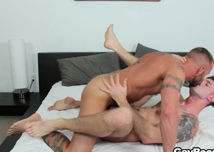 Troy Daniels gets his ass torn up by his horny tattooed masseur