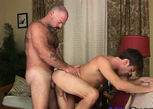 Mature hairy baffle chow young cock increased by licks his taste twink ass
