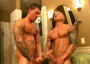 Hot happy-go-lucky fucking and sucking in the bathroom leads to them needing showers